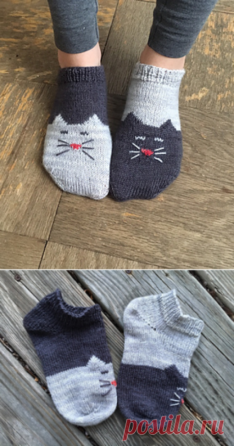 Ravelry: YinYang Kitty Ankle Socks pattern by Inorgaknit
