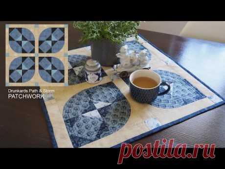 Inspiration patchwork quilt block. Drunkards path & Storm. Tutorial Lizadecor.com