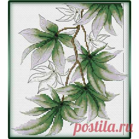 Вышитый узор из листьев