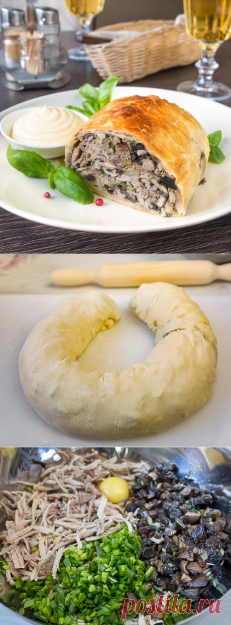 Мясной пирог с лесными грибами