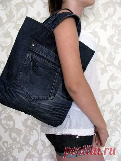 Хозяйственная сумка из джинсов / Переделка джинсов / Модный сайт о стильной переделке одежды и интерьера