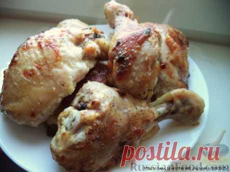 Курица в йогуртовом маринаде с чесноком, имбирем и специями (йогурт можно взять даже сладкий)