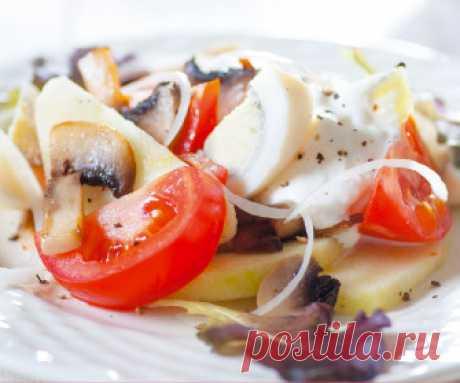 Салат из шампиньонов с помидорами | Рецепты, кулинария