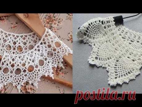 Воротник кружевной крючком - Lace Crochet Collar - YouTube