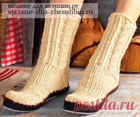 Вязаные носки-тапочки спицами - вязание носков спицами описание