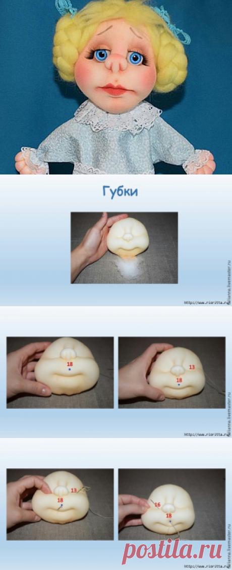 Утяжка губ для кукол в технике «скульптурный текстиль»