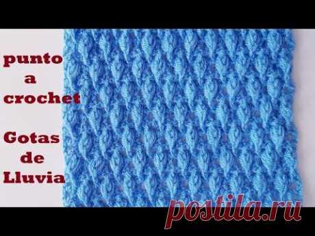 punto Gotas de lluvia a crochet - para bufandas, gorros, tutorial - tejido - ganchillo
