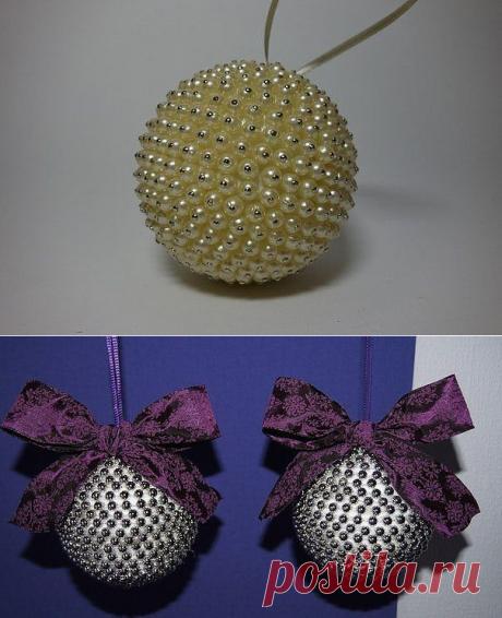 Драгоценные елочные шары и елочки из жемчуга — Поделки с детьми