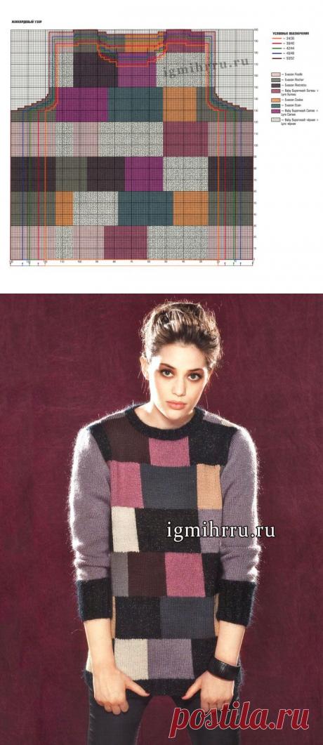 Нестареющая клетка! Теплый разноцветный пуловер из мериносовой шерсти и мохера. Вязание спицами