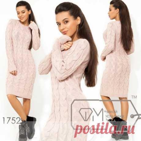 Вязаное платье с узором косы