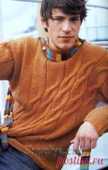 Оранжевый мужской пуловер с узором из наклонных кос - SHPULYA.com