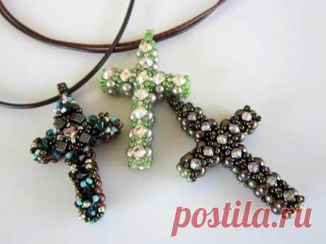 Beaded Cross . Крестик из бисера и жемчуга. Квадратное плетение.
