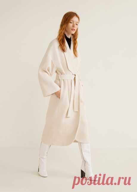 Пальто в елочку, шерсть - Пальто - Женская | Mango МАНГО Россия (Российская Федерация)
