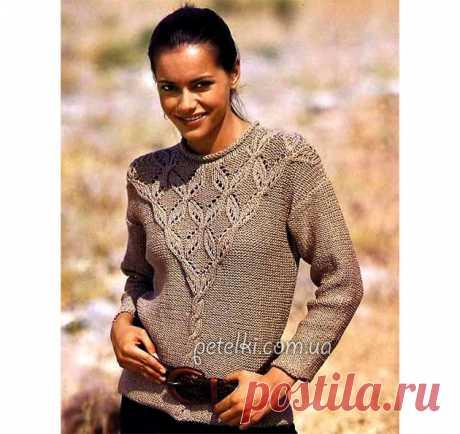 Пуловер с красивой кокеткой. Описание и схема
