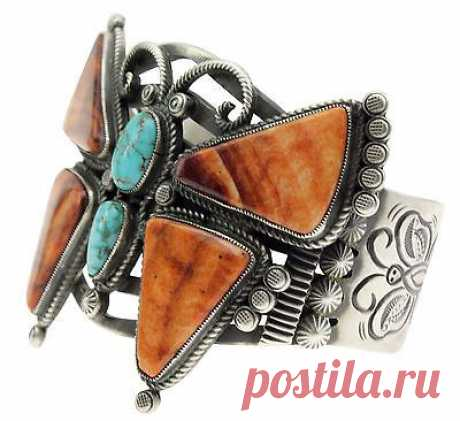 Details about Calvin Martinez, Bracelet, Butterfly, Spiny Oyster, Carico Lake, Navajo, 6 3/4''