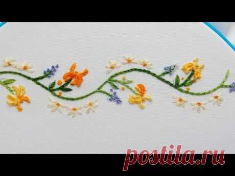 Цветочный орнамент  легкие стежки ирисы и сирень