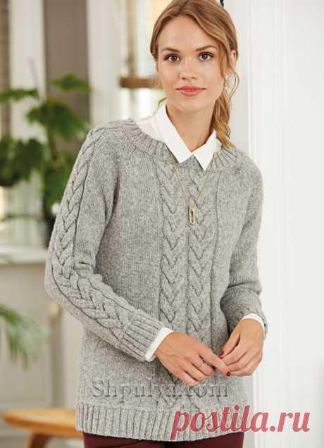 Серый пуловер реглан с косами спицами - SHPULYA.com