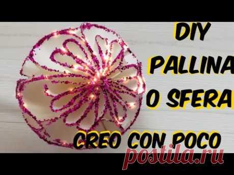 Diy Pallina o sfera di natale realizzata in modo semplice e veloce con Cartoncinicoloratibrillantini