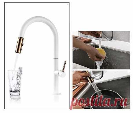Вытяжной кухонный кран, розовое золото и белый смеситель для раковины, 360 градусов вращения, кухонный смеситель, кухонный кран|Смесители для кухни| | АлиЭкспресс