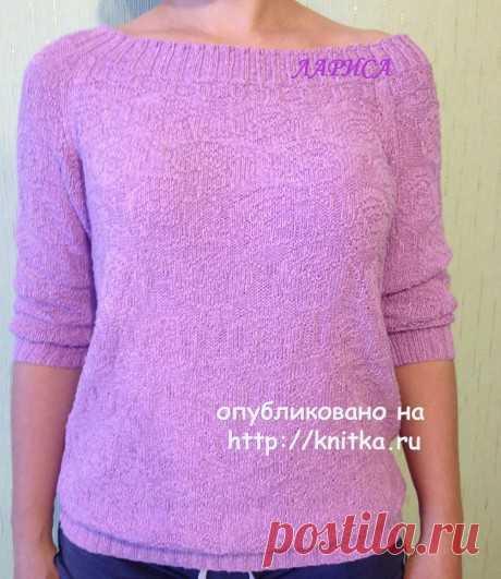 Элегантный пуловер спицами с вырезом лодочка. Работа Ларисы Величко, Вязание для женщин