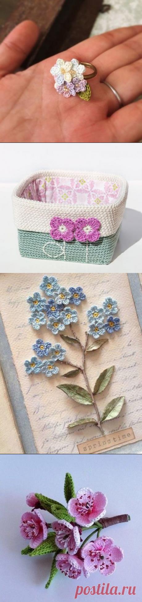 Цветы крючком: стильная деталь. Несколько идей: что ими украсить. | Мир Вышивки | Яндекс Дзен
