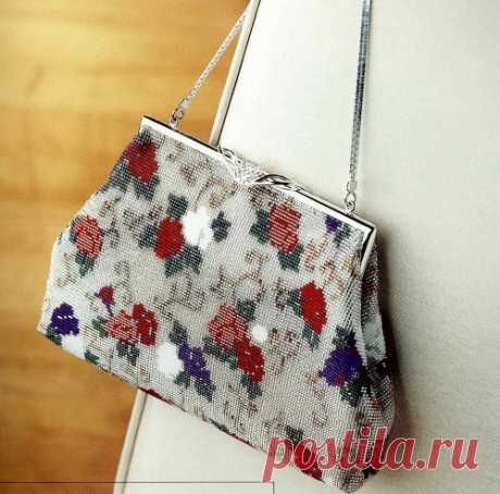 The clutch embroidered with beads, a bag from beads the scheme  