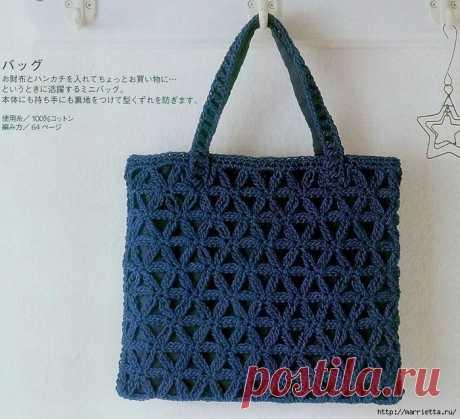 Схемы вязания крючком сумочки из синей пряжи | Краше Всех