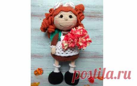 Кукла рыжеволосая Школьница Вязаная крючком кукла рыжеволосая Школьница. Схема