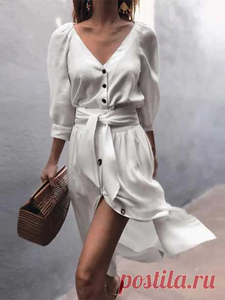 Women Solid Color Button V-neck 3/4 Sleeve Casual Dress - US$30.99