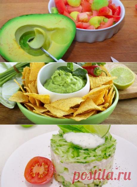 El aguacate - las recetas de la preparación de la salsa guakamole, la ensalada con la gallina y la pasta para los bocadillos. ¿Cómo escoger y con que se combina maduro el aguacate?