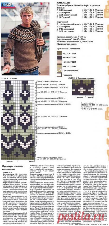 "\""A men's sweater of Lopapeys - Scheme \/ Needlework \/ Knitting of spokes \/ Pinme.ru\/Pinme"