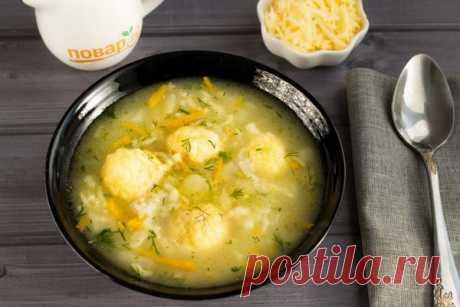 Варим самый вкусный суп с сырными клецками.