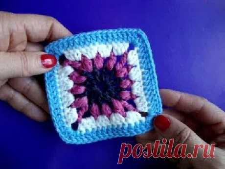 Knitting by a hook the Lesson 247 How to knit a square of Crochet granny square