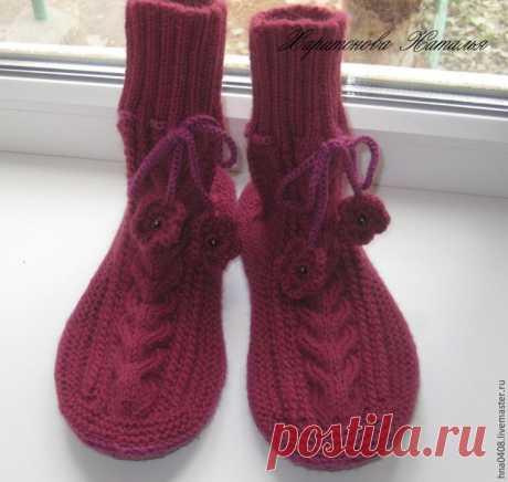 Вяжем уютные носки на войлочной подошве – Ярмарка Мастеров