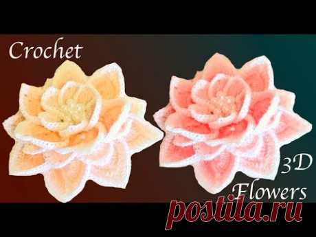 Flor tejida a Crochet aprende a tejer paso a paso en 3D tejido tallermanualperu