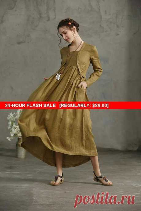 """Flash Sale linen dress, Layered Maxi Linen Dress In Golden Green, Pleated Dress Pockets, Long Linen Dress, Loose Fitting Linen Kimono Tunic [Christmas Gift] Buy 2 or more items and receive 10% OFF one item! Please use promo code love10. Buy $500 and get 15% per item! Please use promo code """"love15""""  Natural linen tunic dress for women, made in soft and comfortable linen fabric. it works great too when you layer with a legging or a jacket in chilly morning. 【Features】 ❤Typic..."""