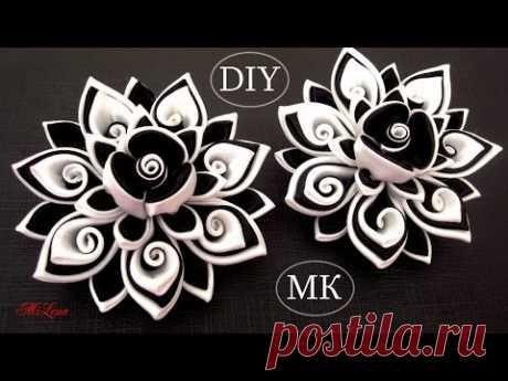 Резинки канзаши, МК / DIY Scrunchy with Kanzashi flower / Black & White Ribbon Flowers