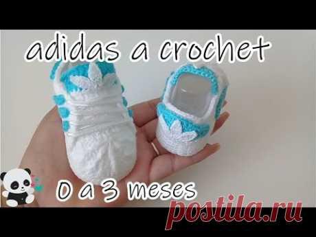 Adidas tejidos a crochet -bebe-0 a 3 meses