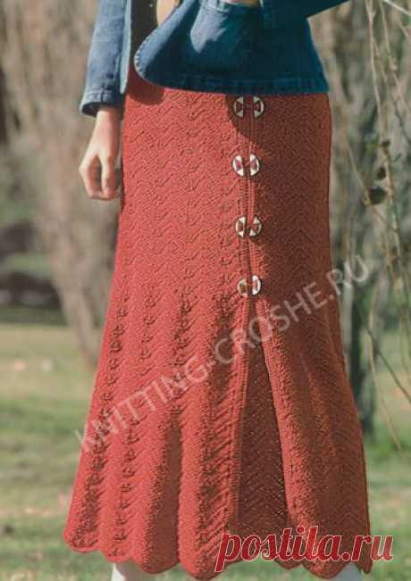 Длинная вязаная юбка