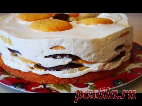 Бисквитный торт со сметанным кремом и бананами ВКУСНО !!! НЕ ОПИСАТЬ СЛОВАМИ