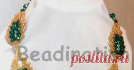 Зеленый и Золотой Санкт-Петербург стежка из бисера лист Учебник  Санкт-Петербург стежка бисером ожерелье Санкт-Петербург стежка еще один из тех бисером стежки, которые легко узнать. Y...