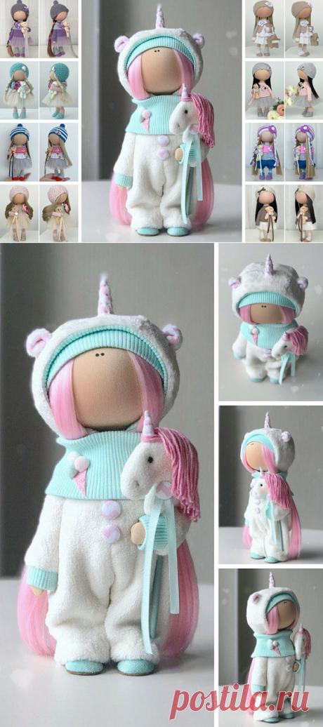 Unicorn Art Doll Handmade Fabric Doll Poupée Tilda Doll
