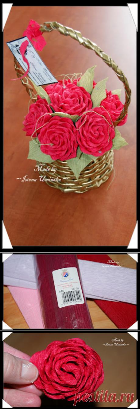 Роза из гофрированной бумаги для топиария и не только...МК