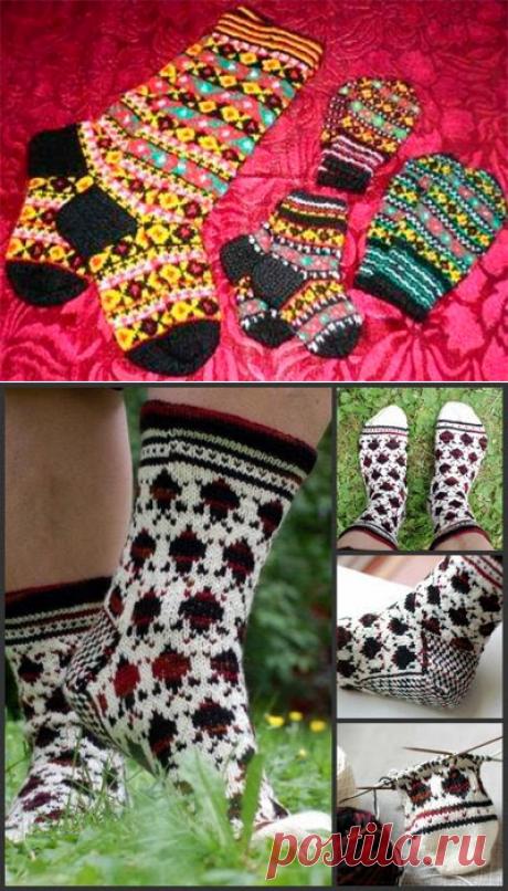 1000 идей для вязания спицами: Скандинавские носки с рисунком