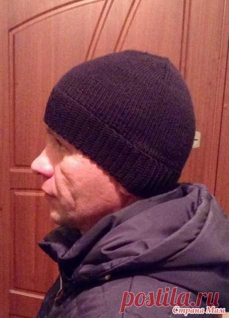 Простая мужская шапка (спицы + крючок) - Вязание - Страна Мам