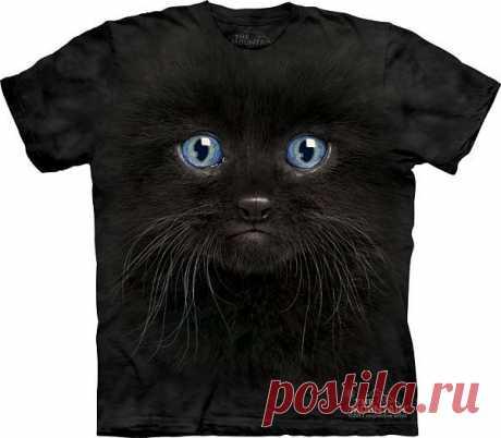 АРТ № 103503 Футболка The Mountain - Black Kitten Face Бесшовная футболка -варенка 100% хлопок Размеры Детские +  S, M, L,XL, XXL, XXXL Рисунок нанесен красками на водной основе. Не выгорает, не тянется