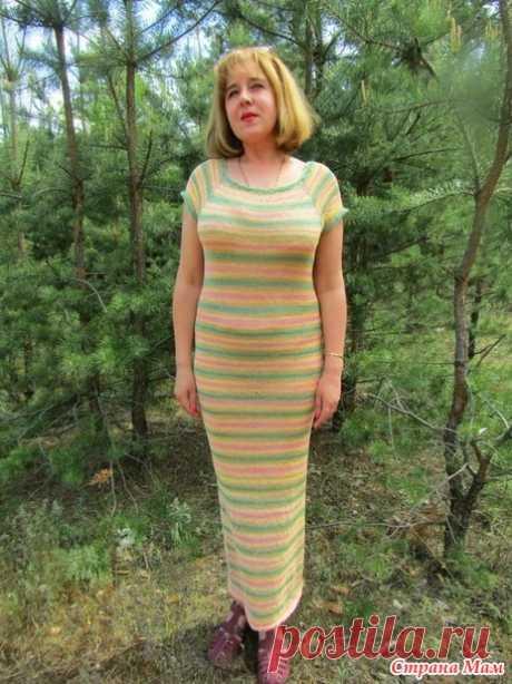 Женское летнее платье спицами без швов - Вязание - Страна Мам