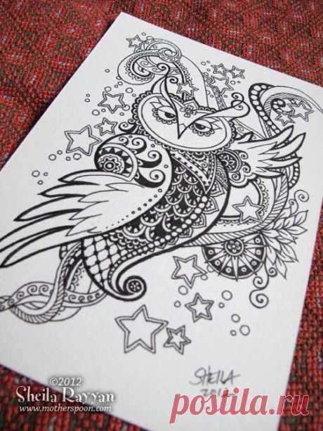 Doodle Owl - original ink drawing