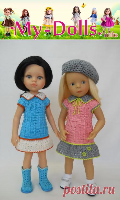Платья связанные для кукол Паола Рейна и Минуш по МК Милашка