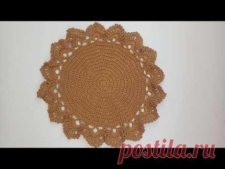 مفرش كروشيه دائري بخيط المكرميه الفرنساوي how to crochet doily